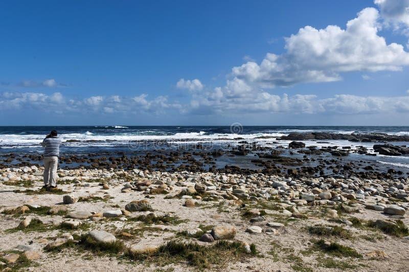 Linea costiera dell'Oceano Atlantico dal Capo di Buona Speranza Spruzzata di Wave delle rocce fotografie stock