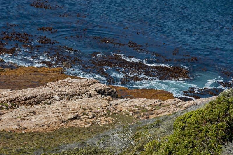 Linea costiera dell'Oceano Atlantico dal Capo di Buona Speranza Spruzzata di Wave delle rocce fotografia stock libera da diritti