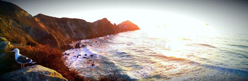 Linea costiera di Big Sur al tramonto fotografia stock