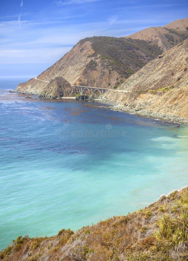 Linea costiera di California lungo la strada principale della costa del Pacifico fotografia stock libera da diritti