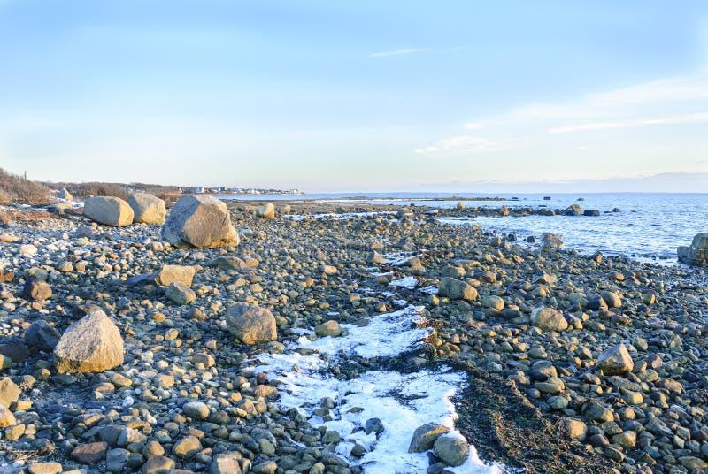Linea costiera di Rocky Buzzards Bay fotografia stock libera da diritti