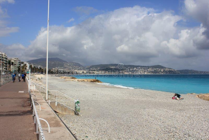 Linea costiera piacevole, affrontante Promenade des Anglais fotografia stock