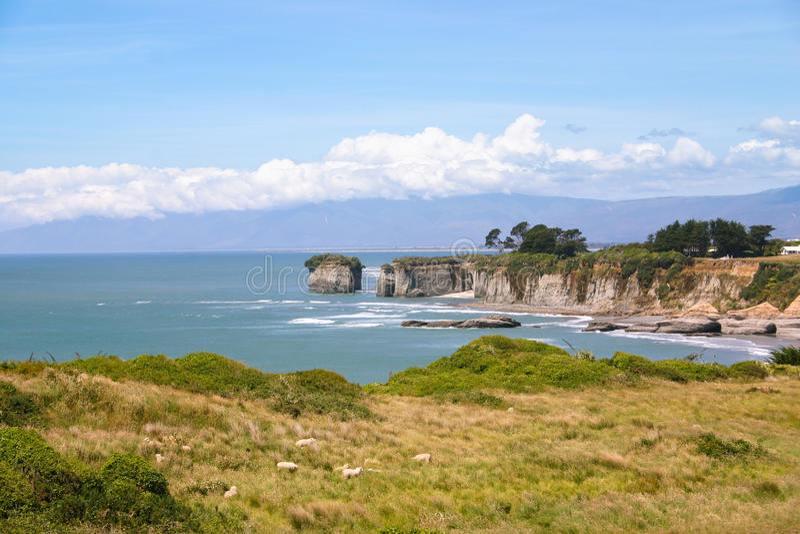 Linea costiera rocciosa, isola del sud della Nuova Zelanda immagine stock libera da diritti