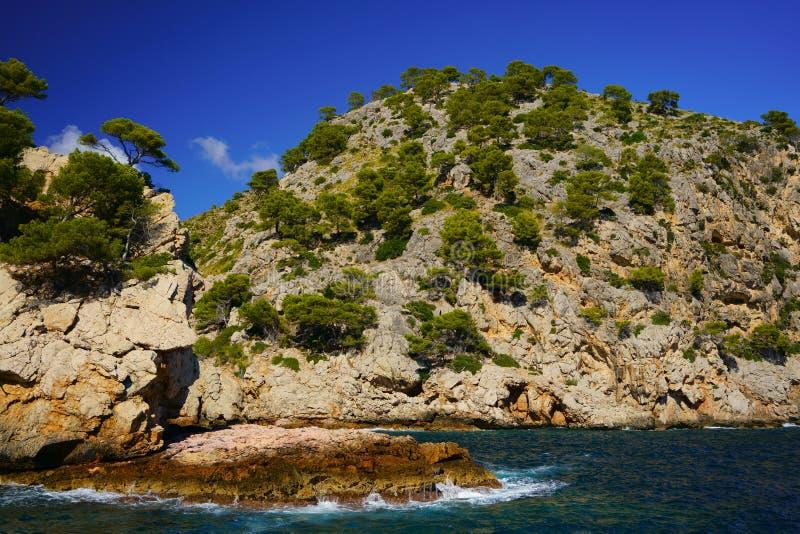 Linea costiera spettacolare, en Feliu, Maiorca nordica, Isole Baleari, Spagna di Cala fotografia stock libera da diritti