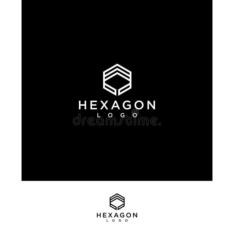 Linea creativa e professionale di esagono del nero di logo illustrazione di stock