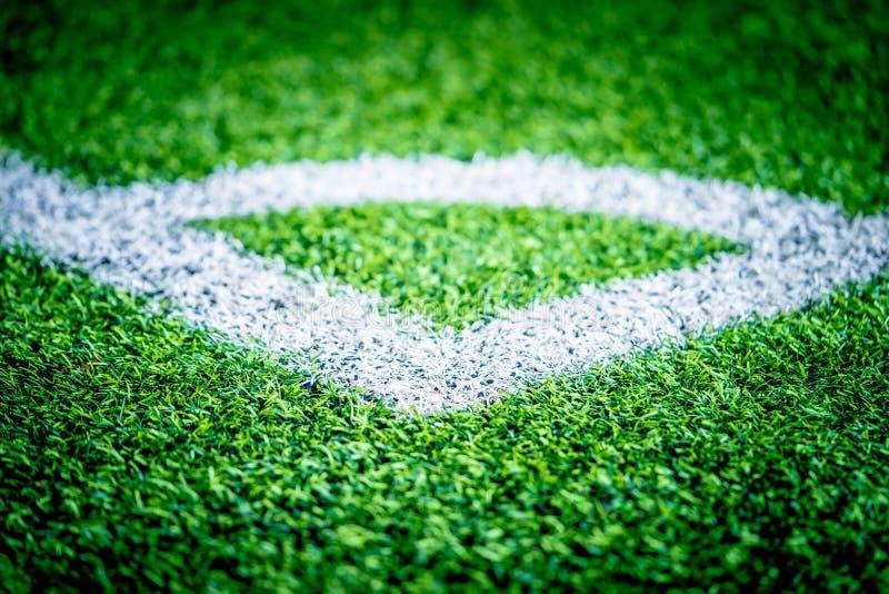 Linea d'angolo di campo di formazione dell'interno di calcio di calcio fotografie stock libere da diritti