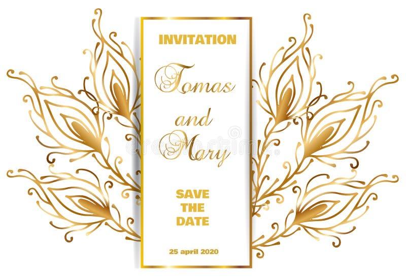 Linea d'annata fondo di lusso dell'oro di nozze con la piuma del pavone illustrazione vettoriale