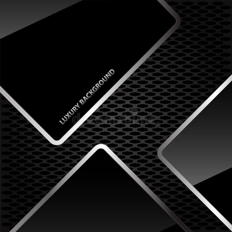 Linea d'argento lucida nera astratta sul vettore di lusso di progettazione del fondo della maglia del favo royalty illustrazione gratis
