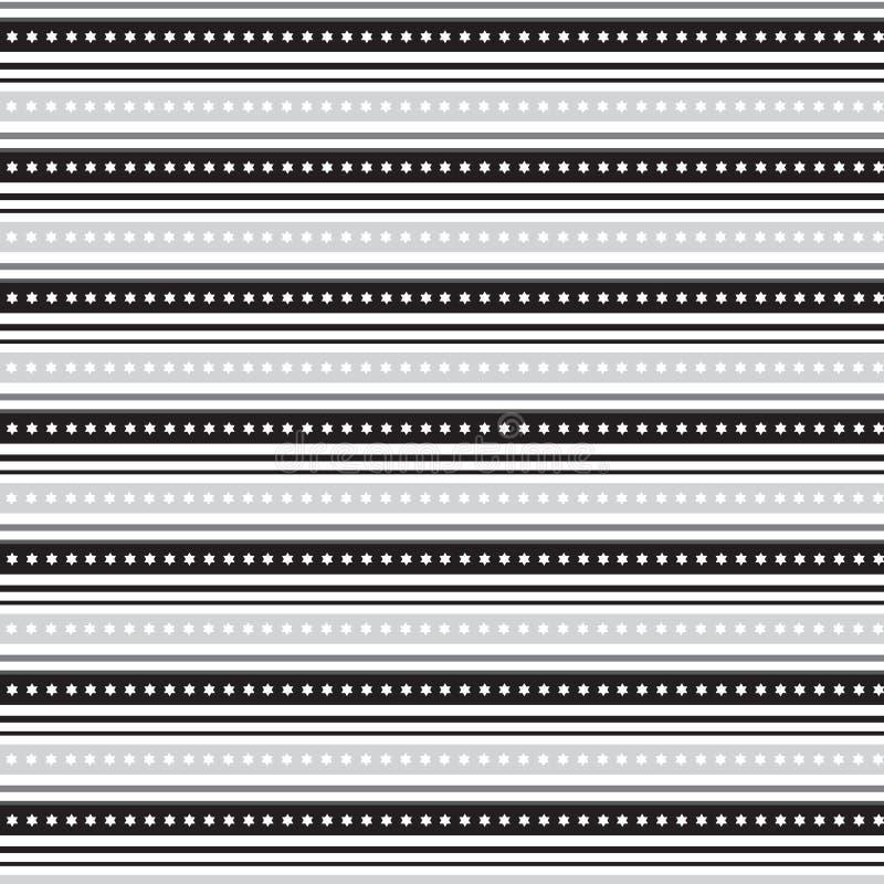 Linea d'argento nera ed argento nero con la stella bianca dentro la banda illustrazione vettoriale