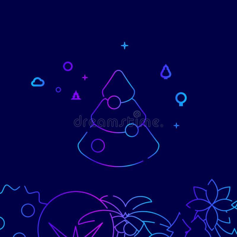 Linea decorata icona, illustrazione di vettore dell'albero di Natale su un fondo blu scuro Confine inferiore relativo royalty illustrazione gratis
