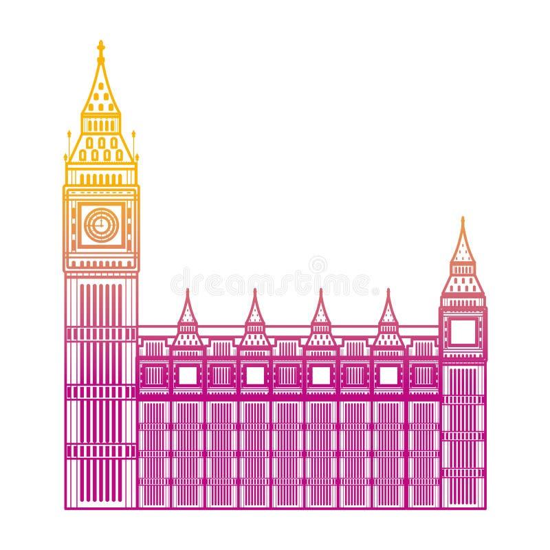Linea degradata architettura medievale della torre di orologio di Londra illustrazione vettoriale