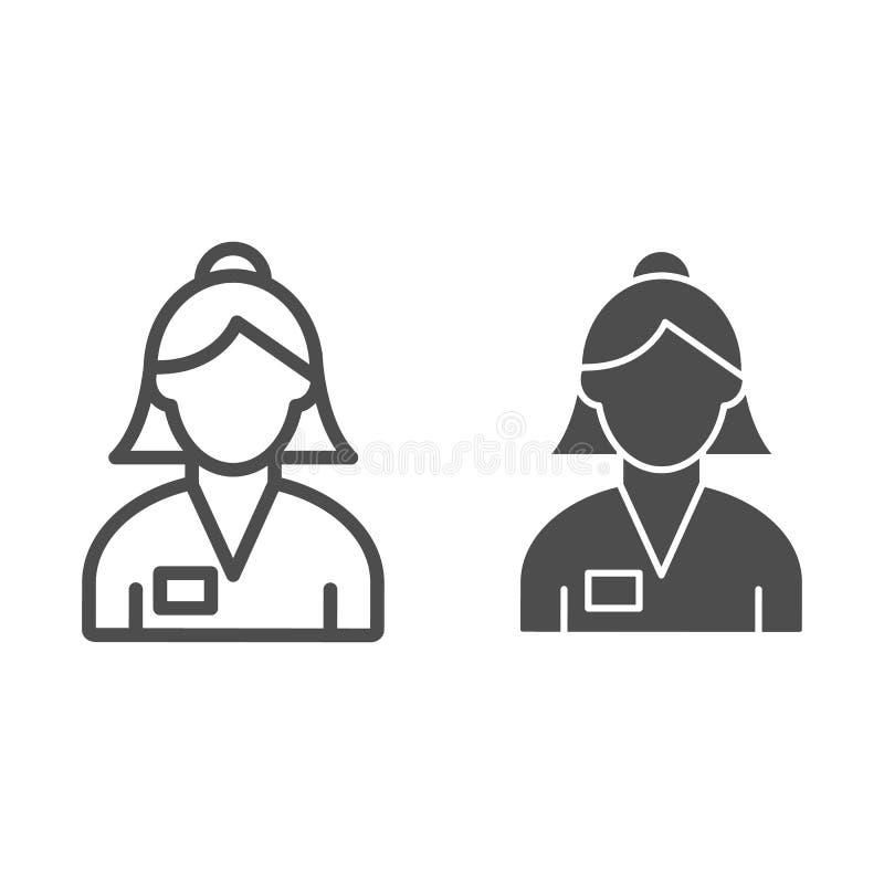 Linea del banchiere di donna ed icona di glifo Illustrazione di vettore del lavoratore della Banca isolata su bianco Profilo femm illustrazione vettoriale