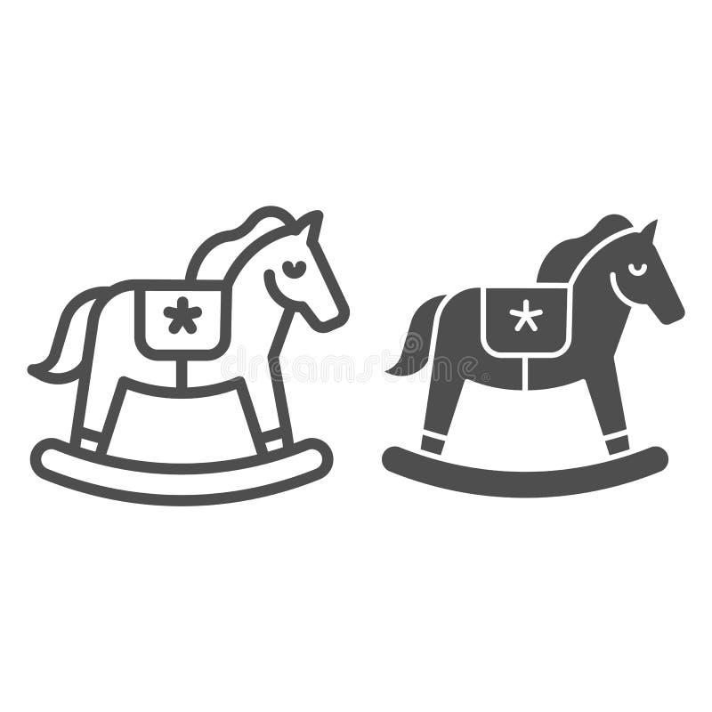 Linea del cavallo a dondolo ed icona di glifo Illustrazione di vettore del giocattolo isolata su bianco Progettazione di legno di illustrazione vettoriale