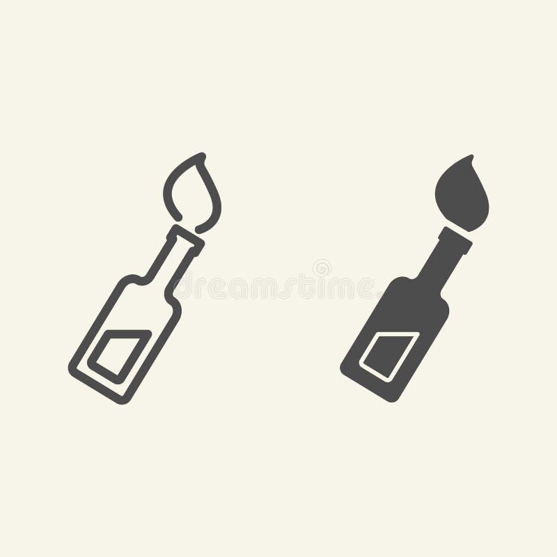 Linea del cocktail del fuoco ed icona di glifo Illustrazione di vettore della bomba Molotov isolata su bianco Stile del profilo d illustrazione vettoriale