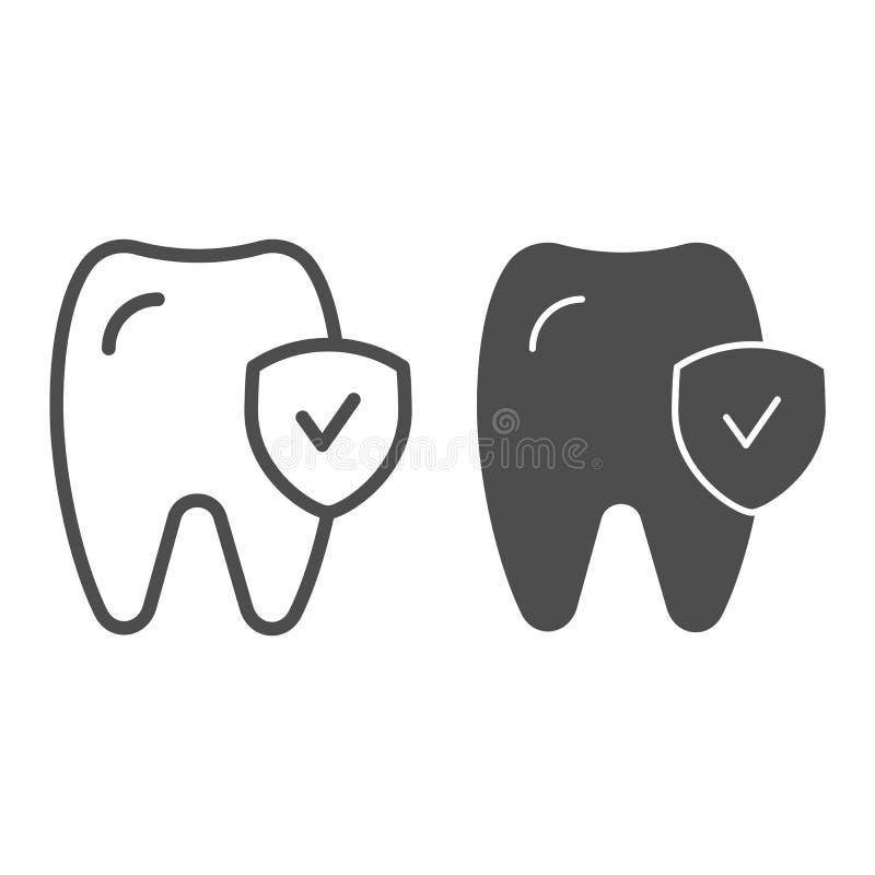 Linea del controllo del dente ed icona di glifo Illustrazione sana di vettore del dente isolata su bianco Progettazione di stile  illustrazione vettoriale