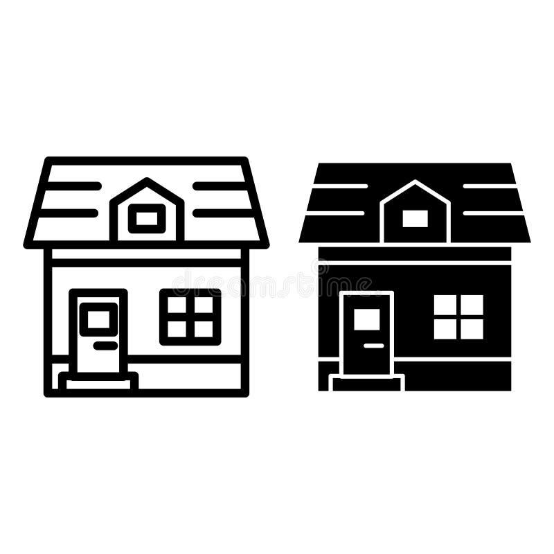 Linea del cottage della soffitta ed icona di glifo Illustrazione di vettore di architettura isolata su bianco Progettazione di st illustrazione vettoriale