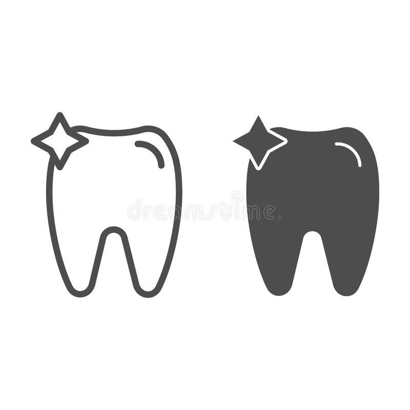 Linea del dente ed icona di glifo Illustrazione di vettore dell'ammaccatura isolata su bianco Progettazione di stile del profilo  illustrazione vettoriale