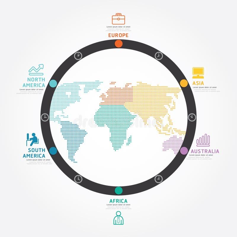 Linea del diagramma di progettazione di massima di affari di mondo di vettore di Infographics illustrazione vettoriale