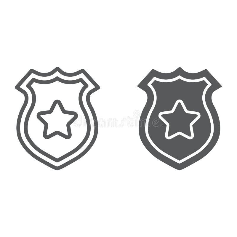 Linea del distintivo della polizia ed icona di glifo, polizia e sceriffo, segno del distintivo dell'ufficiale, grafica vettoriale illustrazione vettoriale