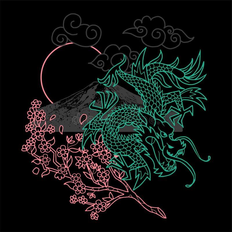 Linea del drago del Giappone illustrazione di stock