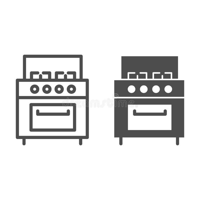Linea del fornello ed icona di glifo Illustrazione di vettore della stufa isolata su bianco Progettazione di stile del profilo de illustrazione di stock
