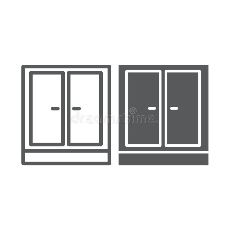 Linea del guardaroba ed icona di glifo, mobilia e casa, segno dell'armadietto, grafica vettoriale, un modello lineare illustrazione di stock