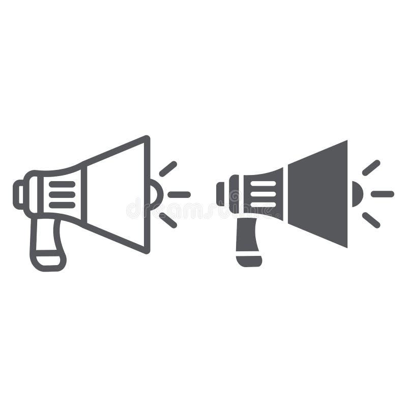 Linea del megafono ed icona di glifo, annuncio ed altoparlante, segno dell'altoparlante, grafica vettoriale, un modello lineare s illustrazione vettoriale