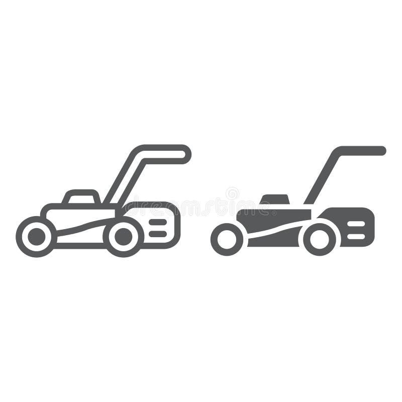 Linea del motore del prato inglese ed icona di glifo, attrezzatura e giardino, segno della taglierina, grafica vettoriale, un mod illustrazione di stock