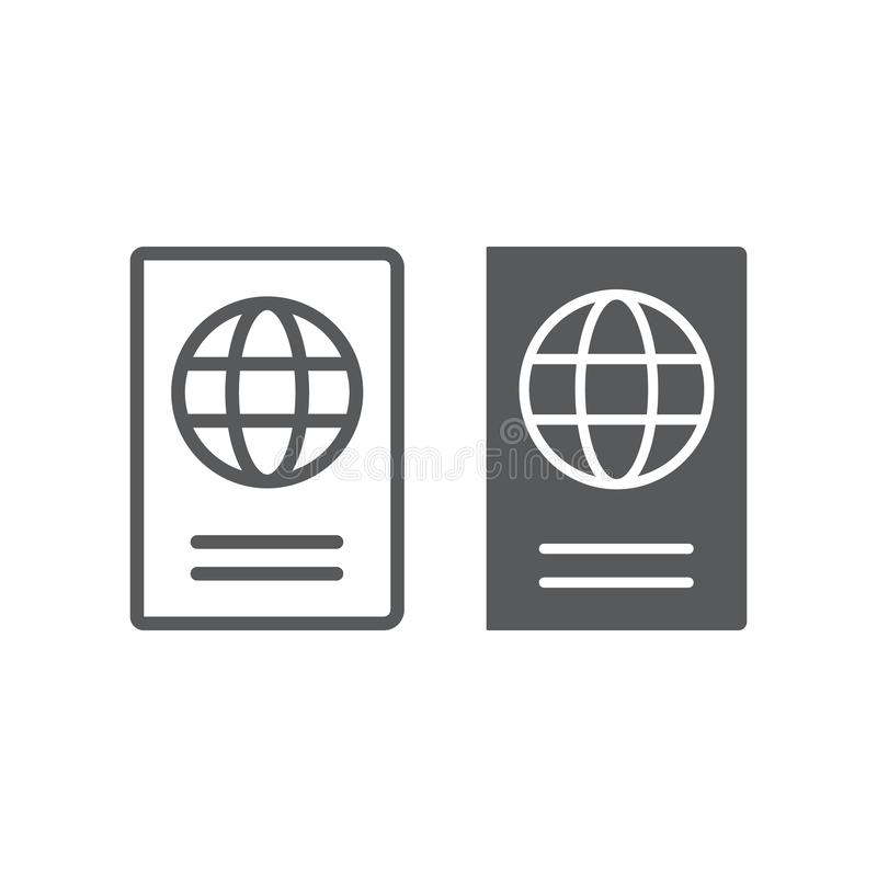 Linea del passaporto ed icona di glifo, viaggio e turismo, grafica vettoriale del segno di identità, un modello lineare su un fon royalty illustrazione gratis