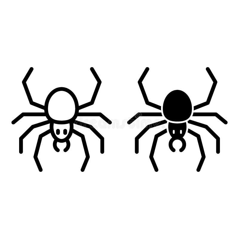 Linea del ragno ed icona di glifo Illustrazione di vettore dell'aracnide isolata su bianco Progettazione di stile del profilo del illustrazione vettoriale