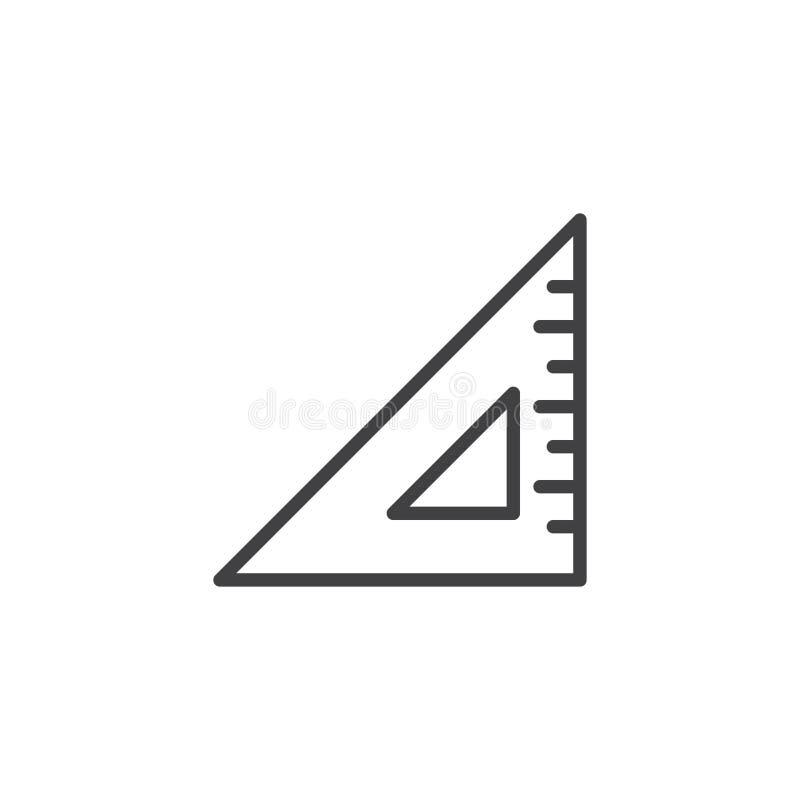 Linea del regolo triangolare geometrica icona illustrazione vettoriale