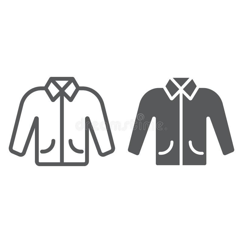 Linea del rivestimento ed icona di glifo, vestiti e modo, segno dell'abbigliamento, grafica vettoriale, un modello lineare su un  illustrazione vettoriale