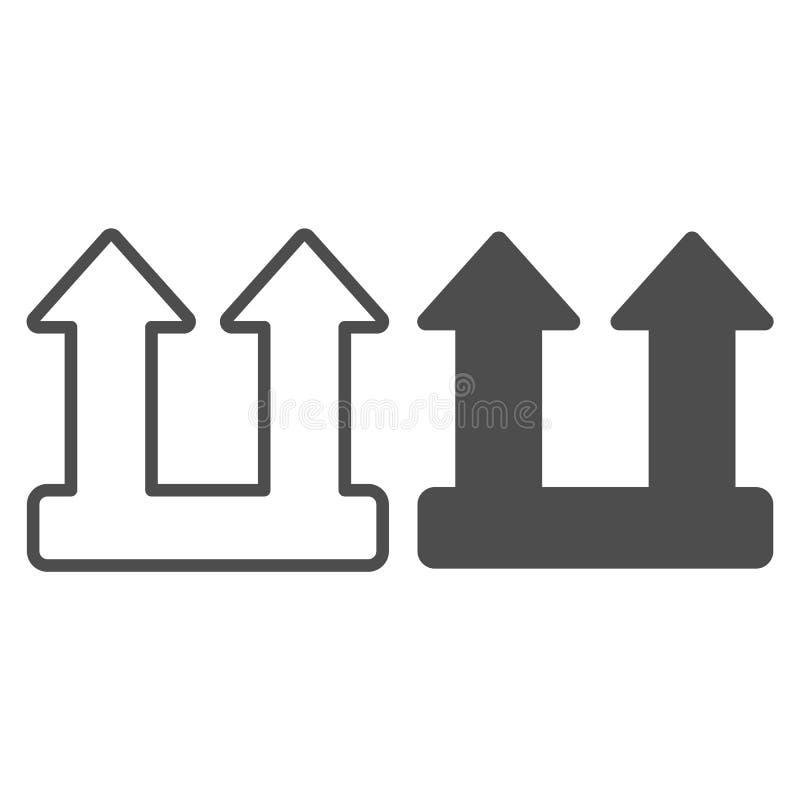 Linea del segno del carico del carico ed icona di glifo Illustrazione di vettore di simbolo della freccia del carico isolata su b illustrazione di stock