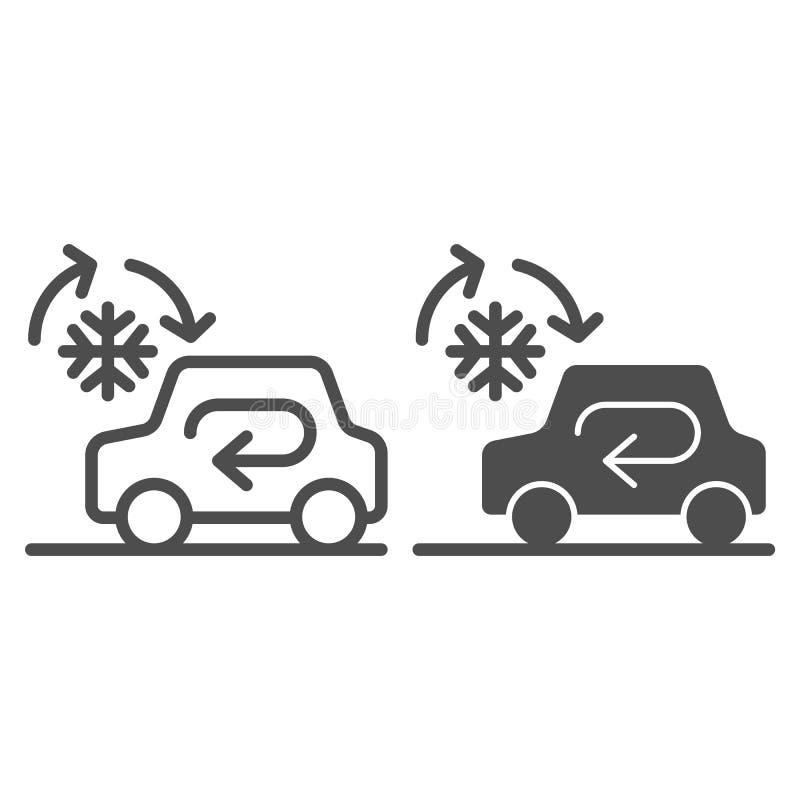 Linea del sistema dell'automobile ed icona di raffreddamento di glifo Illustrazione automatica di vettore del condizionamento d'a illustrazione vettoriale