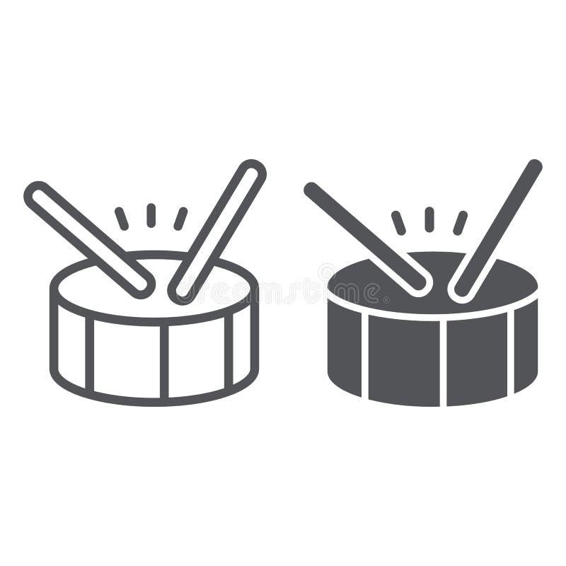 Linea del tamburo ed icona di glifo, musica e battito, segno dello strumento di percussione, grafica vettoriale, un modello linea illustrazione vettoriale