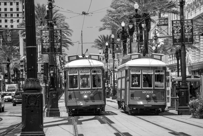 Linea del tram di New Orleans a New Orleans del centro fotografia stock libera da diritti