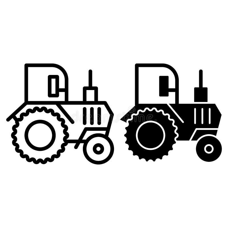 Linea del trattore ed icona di glifo Illustrazione di vettore di agronomia isolata su bianco Progettazione agricola di stile del  royalty illustrazione gratis