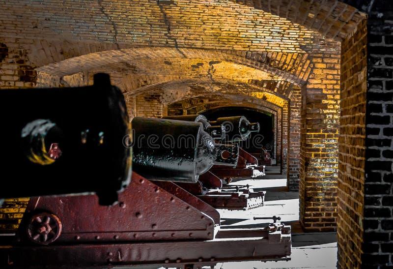 Linea del XIX secolo del cannone fotografia stock libera da diritti