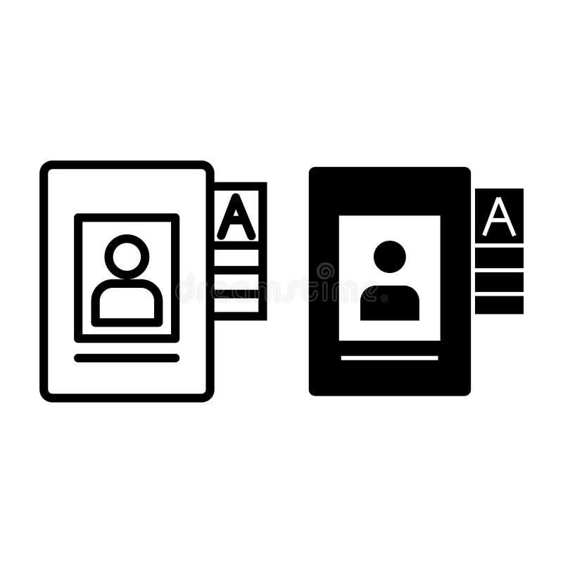 Linea dell'archivio di dati personali ed icona di glifo Illustrazione di vettore del documento isolata su bianco Progettazione di royalty illustrazione gratis