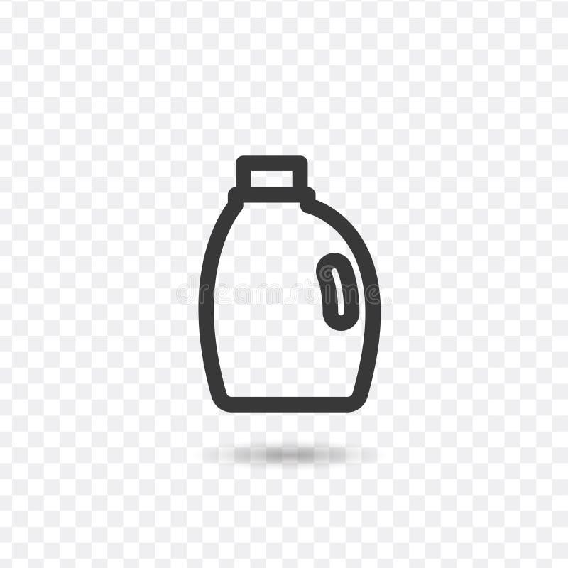 Linea dell'icona detergente Simbolo isolato sull'argomento pulito con detersivo per la pulizia, detersivo per le bottiglie e imba illustrazione di stock