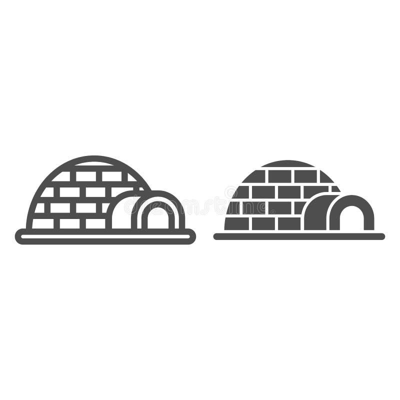 Linea dell'iglù ed icona di glifo Illustrazione di vettore della ghiacciaia isolata su bianco Progettazione antartica di stile de royalty illustrazione gratis