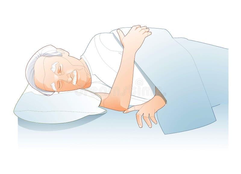 Linea dell'illustrazione di sonno dell'uomo senior royalty illustrazione gratis