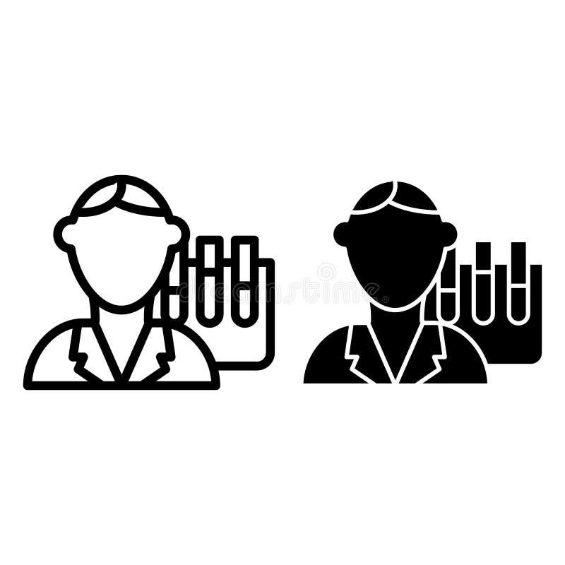 Linea dell'insegnante di chimica ed icona di glifo Illustrazione di vettore di professore isolata su bianco Progettazione di stil illustrazione vettoriale