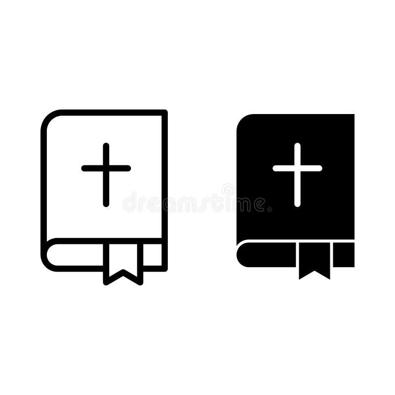 Linea della bibbia ed icona di glifo Illustrazione di vettore del libro sacro isolata su bianco Progettazione di stile del profil illustrazione di stock
