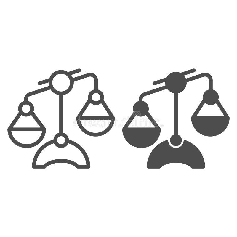 Linea della Bilancia ed icona di glifo Illustrazione di vettore delle scale isolata su bianco Progettazione uguale di stile del p illustrazione vettoriale