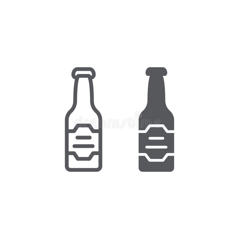 Linea della bottiglia di birra ed icona di glifo, bevanda ed alcool, segno della lager, grafica vettoriale, un modello lineare su royalty illustrazione gratis