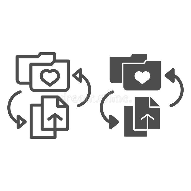 Linea della cartella dei favoriti ed icona di glifo Aggiunga gli archivi all'illustrazione di vettore della cartella isolata su b royalty illustrazione gratis