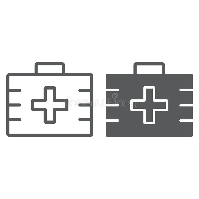 Linea della cassetta di pronto soccorso ed icona di glifo, salute illustrazione vettoriale