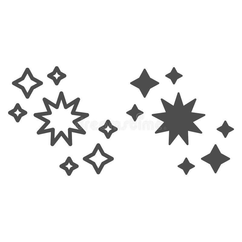 Linea della costellazione ed icona di glifo Illustrazione di vettore delle stelle isolata su bianco Progettazione di stile del pr illustrazione di stock