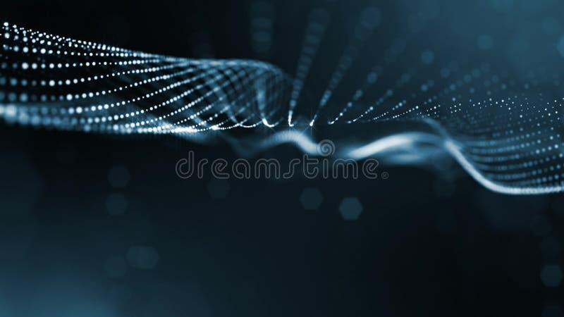 Linea della forma delle particelle e griglia blu della superficie microcosmo o spazio fondo della fantascienza della rappresentaz fotografia stock